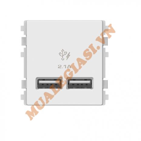 Ổ sạc USB 2.1A đôi, size 2S Schneider ZENCELO A 8432USB_WE