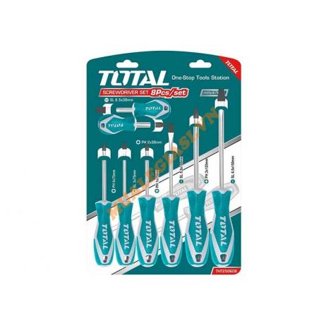 Bộ tuốc nơ vít dẹp và bake 8 chi tiết Total THT250608